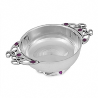 Plain Quaich Bowl with Gothic Purple Stone Handles